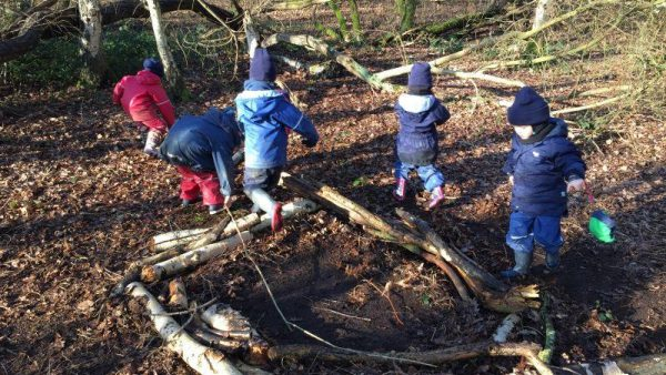 Lower School Construct Nests in Forest School